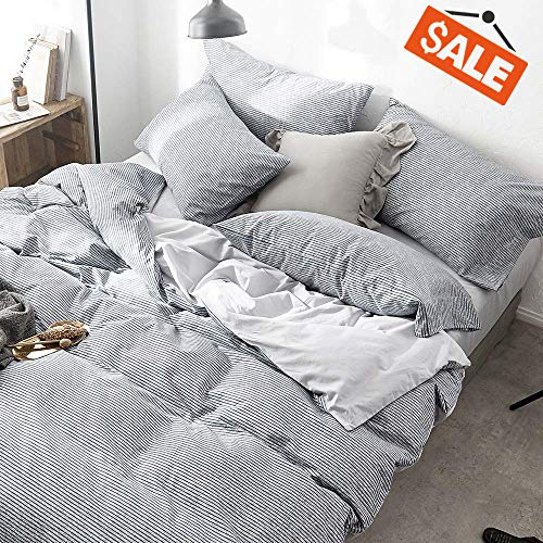 (VClife Cotton Duvet Cover Gray Bedding Sets Twin (1 Duvet Cover + 2 Pillowcases) Reversible Stripe Geometric Pattern, Zipper Closure, 4 Corner Ties, Wrinkle Fade Stain Shrink Resistant, Lightweight)
