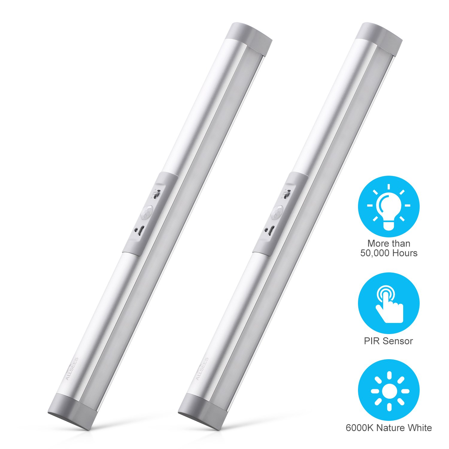 LED Under Cabinet Lighting with Motion Sensor, Wireless Rechargeable Battery Operated, 14 inches Long with Germany OSRAM Eye-Protection LED Bulbs,Designed for Closet, Cabinet(2PACK)
