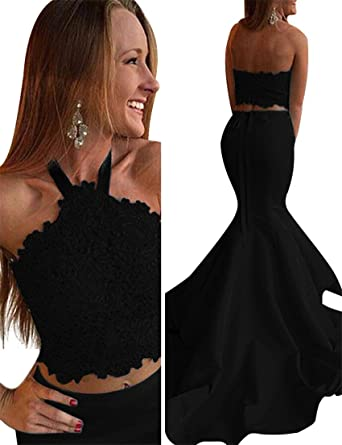 VinBridal Womens 2018 Halter Two Pieces Lace Beading Mermaid Prom Dresses Black 2