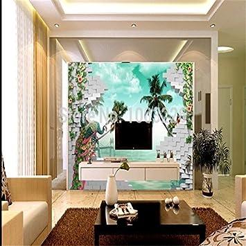 Lqwx Bäume Meer große Wandbilder für Wohnzimmer Rose Wallpaper, 3D ...