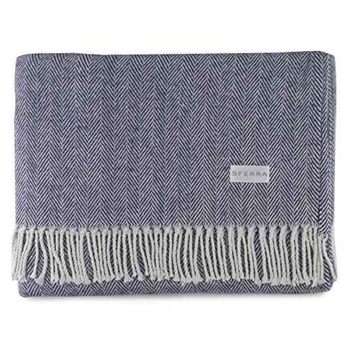 Sferra Celine Herringbone, 100% Cotton Throw Blanket - Navy