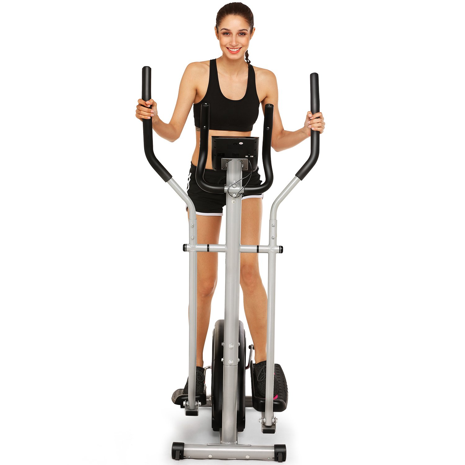 Fast 88 Portable Elliptical Machine Fitness Workout Cardio Training Machine, Magnetic Control Mute Elliptical Trainer with LCD Monitor, Elliptical Machine Trainer (Black) by Fast 88 (Image #2)