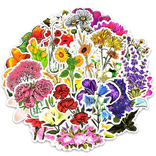 50pcs Flower Decals for Personalize Laptops, Skateboards, Luggage, Cars, Bumpers, Bikes, Bicycles ()
