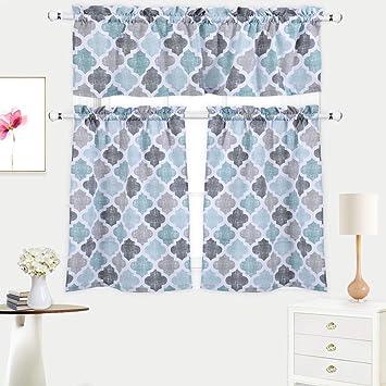 amazon com 3 pieces kitchen curtains set trellis pattern cotton rh amazon com