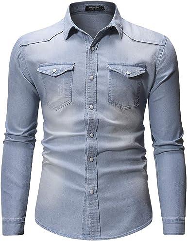 NOBRAND - Camisa vaquera de manga larga para hombre con doble ...