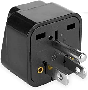 BoxWave Universal to American Outlet Plug Adapter - With Ground Pin – Plug outlet adapter to USA with 3rd Grounding Pin- Great for Traveling! (Black)