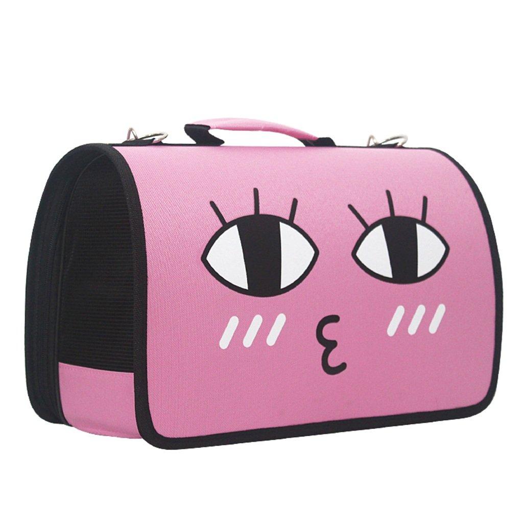 Pink LargeGWM Fashion Cat Bag Pet Bag Out Bag Shoulder Bag Bust Dog Bag Cat Bag Carrying Bag Travel Set (color   Yellow, Size   L)