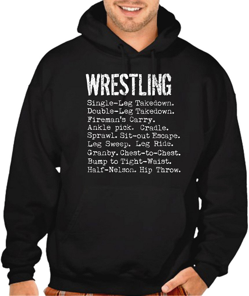 Interstate Apparel Men's Wrestling Moves Black Pullover Hoodie Sweater Large Black