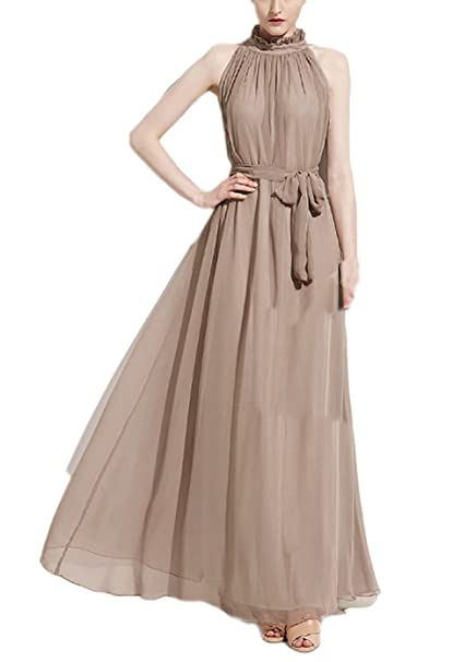 Saoye Fashion Mujer Vestidos Largos De Fiesta Novia para Bodas Verano Cinturón Vestido Chiffon Tul Elegantes