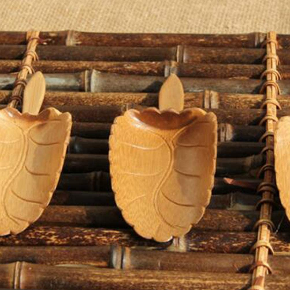 UPKOCH Wooden Tea Scoops Wood Handcrafted Scooper Condiments Coffee Bean Shovel Spoon Chinese Japanese Tea Accessory For Home Office Tearoom