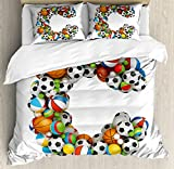 Letter C Duvet Cover Set Queen Size by Ambesonne, Sporting Goods in the Shape of Letter C Fun Activity Competitive Plays Equipment, Decorative 3 Piece Bedding Set with 2 Pillow Shams, Multicolor
