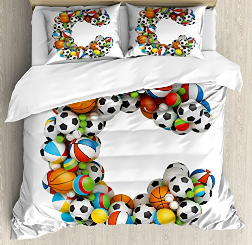 Letter C Duvet Cover Set Queen Size by Ambesonne, Sporting Goods in the Shape of Letter C Fun Activity Competitive Plays Equipment, Decorative 3 Piece Bedding Set with 2 Pillow Shams, Multicolor by Ambesonne