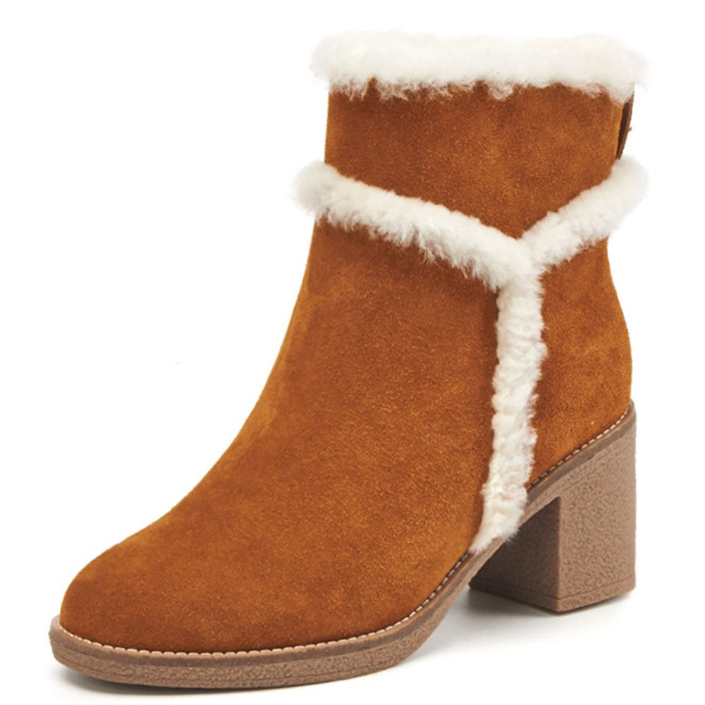 Nine Seven Suede Leather Women's Round Toe Block Heel Slip On Fur Handmade Cute Dressy Ankle Boots (7, Brown) by Nine Seven