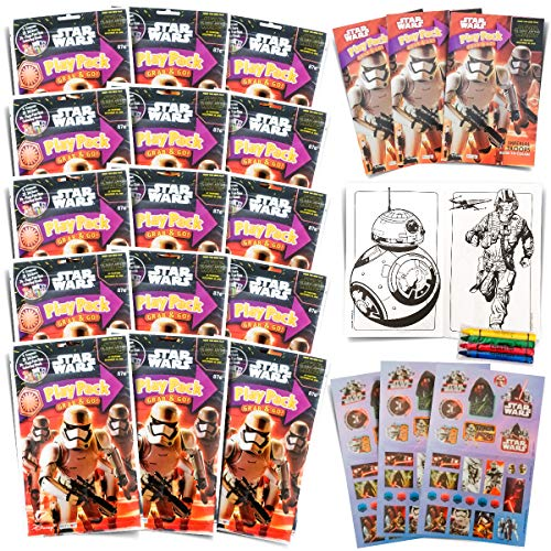 Set of 15 Star Wars Play Packs Fun Party Favors or Classroom Set of Coloring Book Stickers with Star Wars Themed Game Idea Guide and Thank You Notes]()