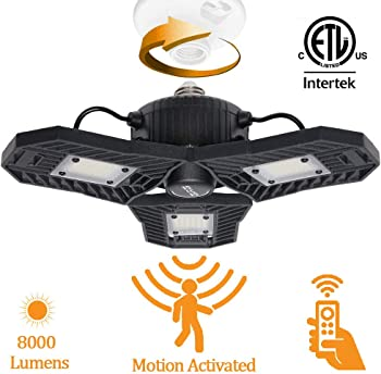Mopzlink Motion Activated LED Ceiling Garage Light with Remote Control