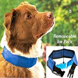 """COOL DOG COLLAR WITH REMOVABLE ICE PACK - SIZE MEDIUM (FITS NECK 17"""" TO 21"""")"""