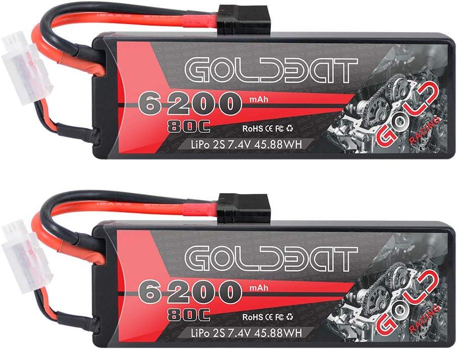 GOLDBAT LiPo 2S Batterie RC 7,4 V 80C 6200 mAh /Étui Rigide de Batterie RC avec connecteur TRX pour Voiture RC Avion RC Camion de Voiture Evader BX Passe-Temps RC 2 Packs h/élicopt/ère RC