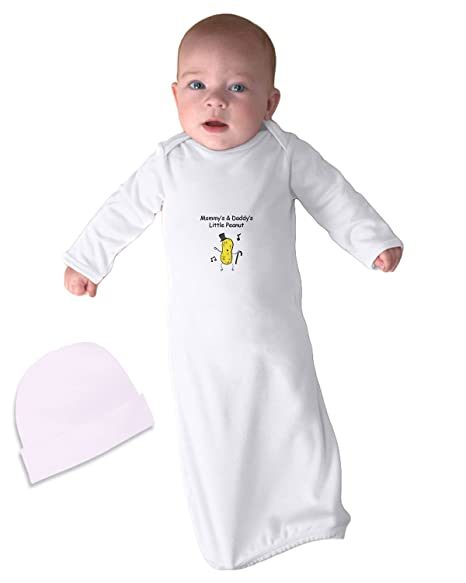Mommy s   Daddy s Little Peanut Infant Baby Rib Layette Sleeping Gown White  Gown ... 508abc53e