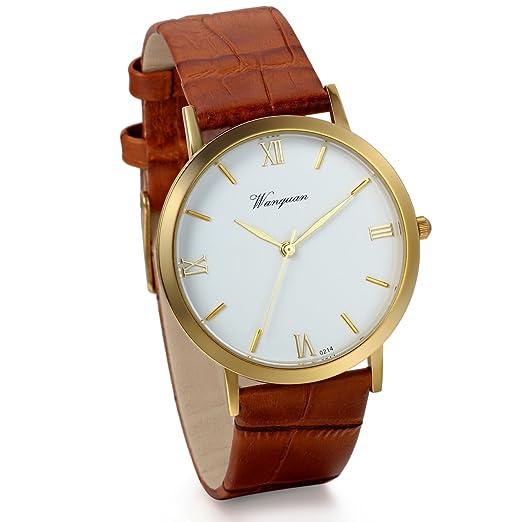 Jewelrywe Relojes de caballero Retro reloj de cuarzo Vintage diseño simple Correa de cuero caf?elegante Relojes de hombre: Amazon.es: Relojes