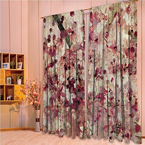 ZHICASSIESOPHIER Modern Style Room Darkening Blackout Window Treatment Curtain Valance for Kitchen/Living Room/Bedroom/Laundry,Cherry Blossoms on Ribbed Bamboo Retro Background 84Wx84L Inch