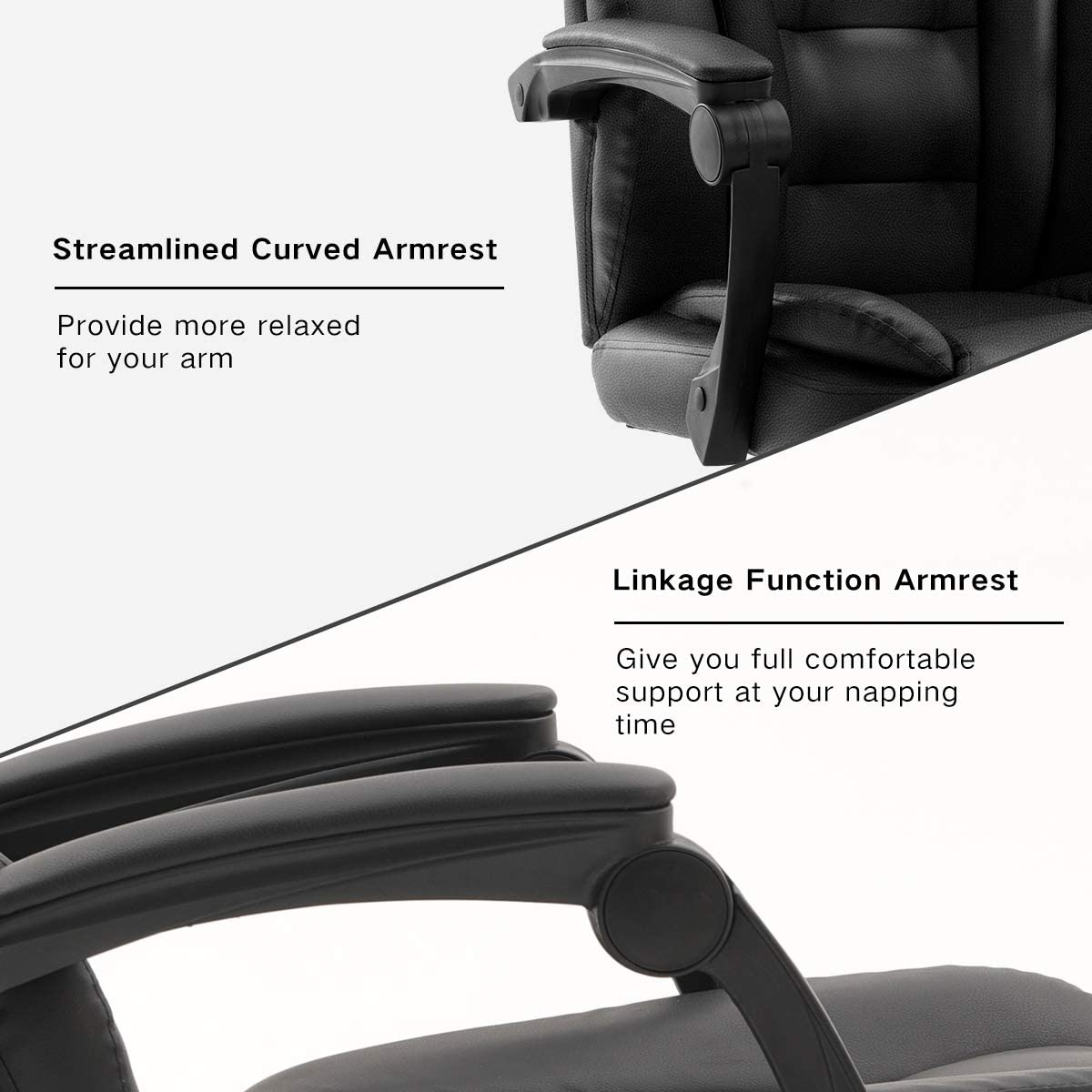 PU Leather Swivel Desk Chair,Adjustable Height High-Back Reclining Chair with Padded Armrest and Footrest,Black Hbada Ergonomic Executive Office Chair