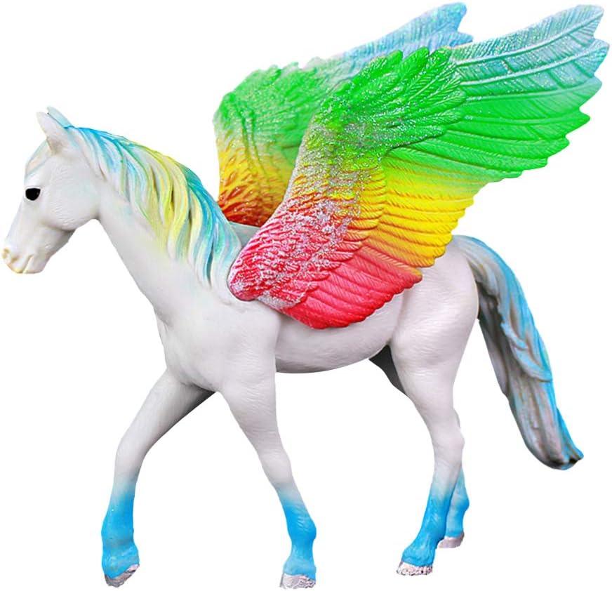 Toyvian Arcoiris Unicornio Estatuilla Caballo Alado Estatua Cake Topper Adornos de Escritorio Juguete de Fantasía Realista Regalo de Cumpleaños para Niños (Caballo Volador)