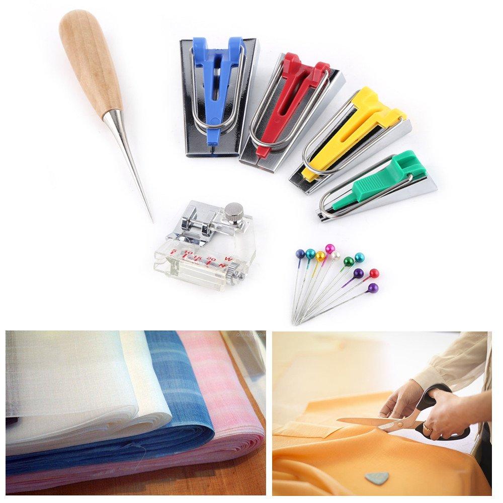 Fabric Bias Tape Maker Kit, 7pcs Binding Tool Guide Strip 6/12/18/25mm Sewing Quilting Bias Tape Maker Set for DIY Patchwork Craft Making Tool ZJchao 4337014212