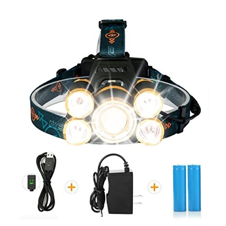 LED Headlamp,SGODDE Super Bright 5 Mode 8000 Lumens Zoomable Headlight   Rechargeable 5 LED