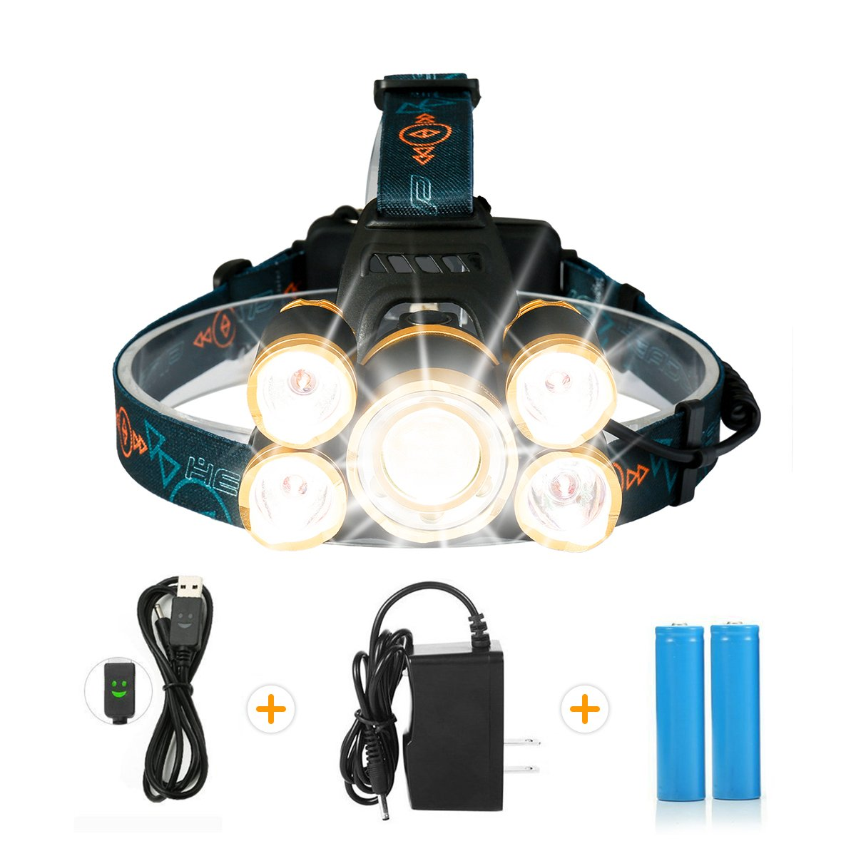 LED Headlamp,SGODDE Super Bright 5 Mode 8000 Lumens Zoomable Headlight -Rechargeable 5 LED Waterproof Head Torchlight for Outdoor Hiking Camping Hunting Fishing Running(Changer&Batteries included)