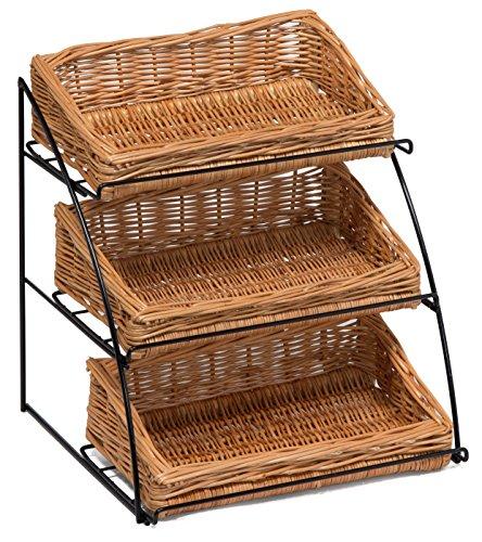 (Prestige Wicker Counter Top Display Stand Three Baskets, Wood, Natural, 35 x 20 x 15 cm)