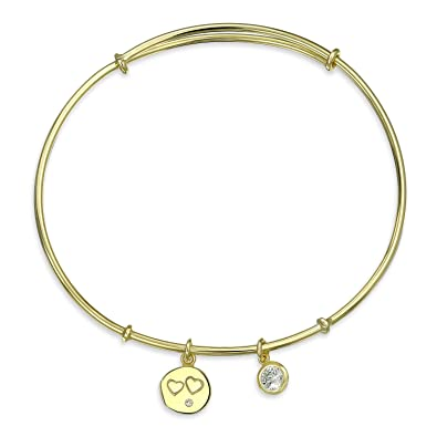 15f9492f6472 Image Unavailable. Image not available for. Color: Heart Charm Accent Bezel  Set CZ Dangle Bangle Bracelet For Women For Teens 14k Gold Plate