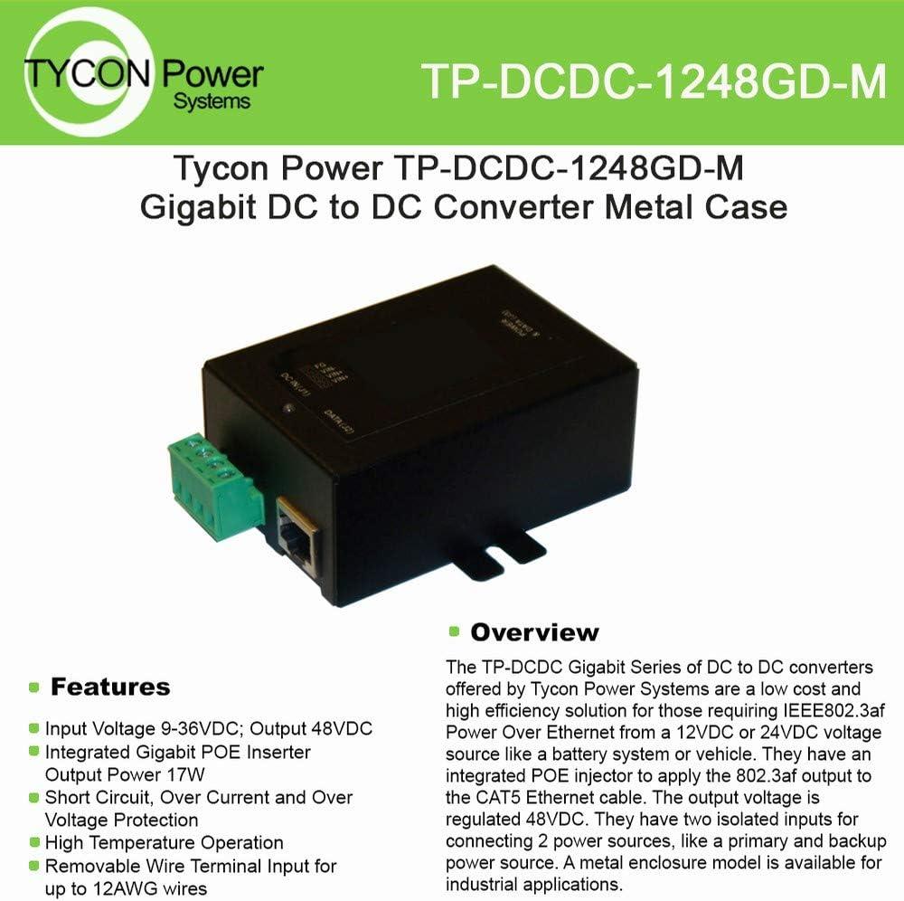 Tycon Systems TP-DCDC-1248GD-M 48V DC Out 17W DC to DC Converter and POE Inserter - Gigabit44; Metal Enclosure