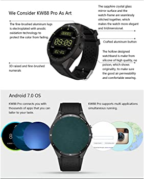 Zwbfu KINGWEAR KW88 Pro 3G SmartWatch Phone 1.39 Pulgadas Android 7.0 MTK6580 Quad Core 1.3GHz 1GB RAM 16GB ROM Smart Watch GPS Dispositivos ...