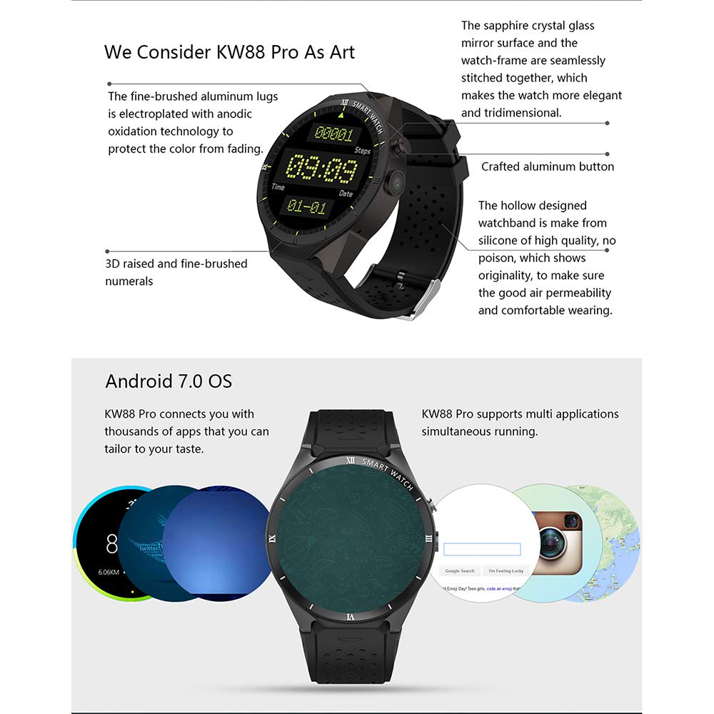 Amazon.com: Zwbfu KINGWEAR KW88 Pro 3G Smartwatch Phone 1.39 ...