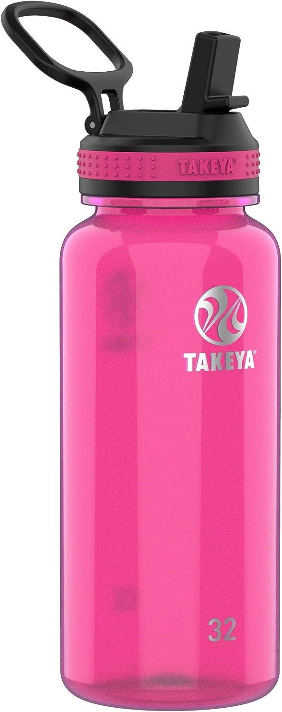 Takeya Tritan Sports Water Bottle with Straw Lid, 32 oz, Fuchsia