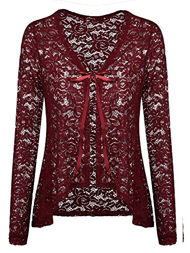 Concep Women's Casual Lace Crochet Cardigan 3 4 Sleeve Sheer Cover up Jacket Plus Size (Wine Red, M)