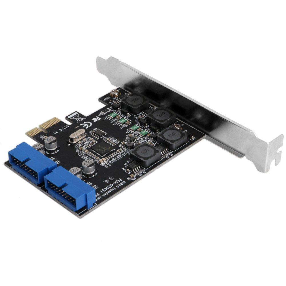 Mimgo Store 2 Port 19Pin USB 3.0 Card PCI-e to PCI Express Internal 20Pin Male Ports Adapter