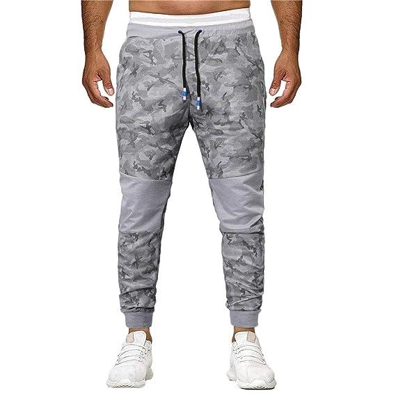 Pantalones Largos para Hombre Camuflaje Costura Deportivo Casual ...
