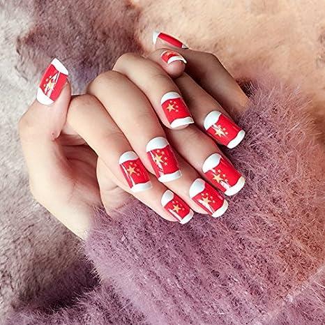 echiq Parea bandera roja uñas postizas chino Star bandera acrílico falso uñas Consejos tamaño mediano China sensación: Amazon.es: Belleza