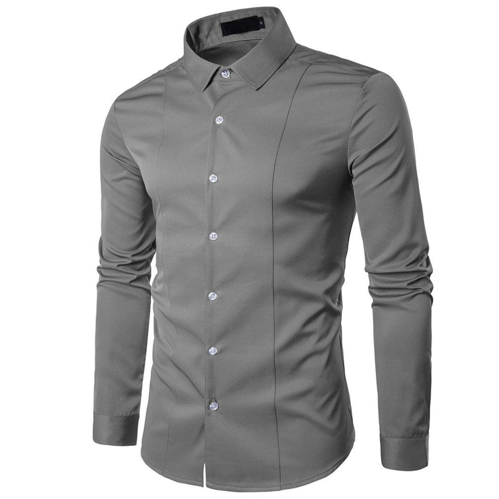 Ximandi Casual Solid Men Shirt Long Sleeve Slim Fit Shirt Mens Top Blouse