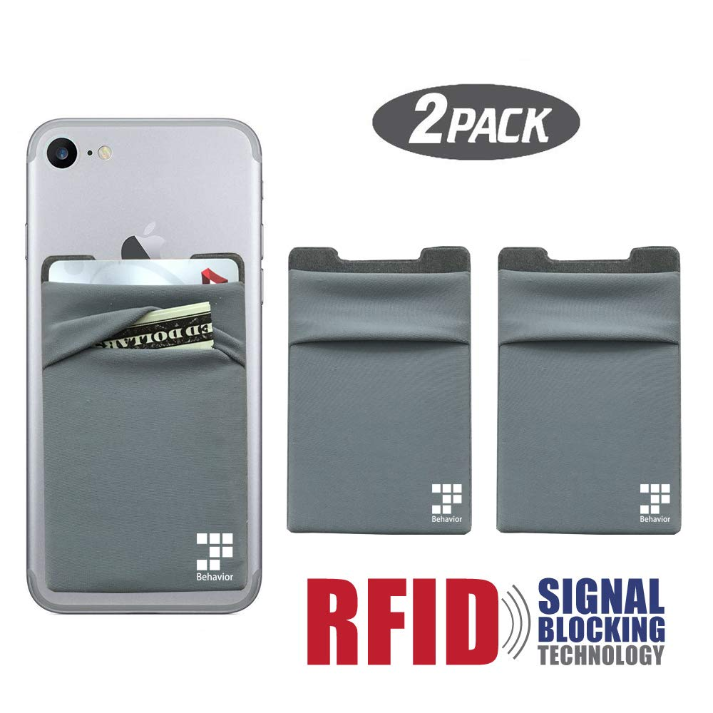 RFID-Blocking Phone Card Wallet - Self Adhesive Double Secure Phone Pocket,Credit Card Holder for Back of Phone Wallet Sticker for All Smartphones (Gray) by StarBehavior