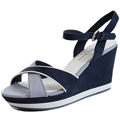 426966e3104 MARCO TOZZI - Lene Navy Blue   White Nautical Open Toe Mid High Heel  Lightweight Wedges