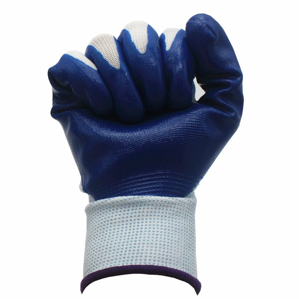 7 Pairs Pack SKYTREE Gardening Gloves, Work Gloves , Comfort Flex Coated, Breathable Nylon Shell, Nitrile Coating, Men's Medium Size (Blue Color)