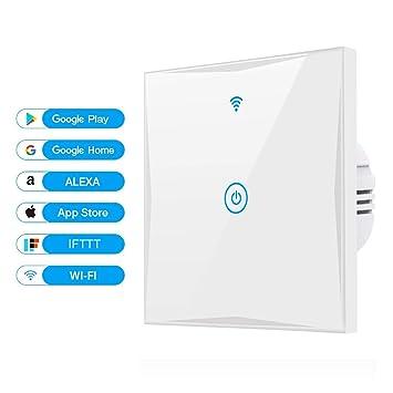 Alexa Smart Lichtschalter, SAIHAM 1-Weg-Wifi-In-Wall-Schalter ...