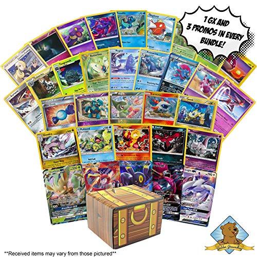 100 Pokemon Cards Featuring - 3 Rares - 3 Foils - 3 Promos - 1 GX! Includes Golden Groundhog Treasure Chest Storage Box!