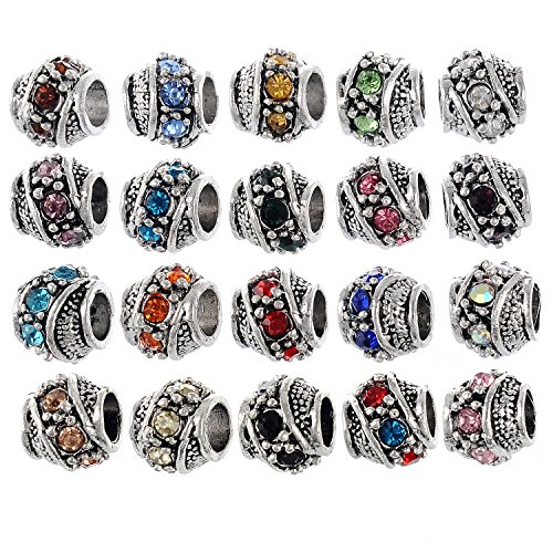 RUBYCA 40Pcs Silver Color Tibetan Charm Beads Crystals Rhinestones fit European Charm Bracelet Mix Color