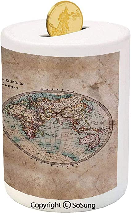 Amazon Com Sosung World Map Ceramic Piggy Bank The World In Hemispheres Vintage Old Map Design Geography History Theme 3d Printed Ceramic Coin Bank Money Box For Kids Adults Burly Wood Tan Blue Toys