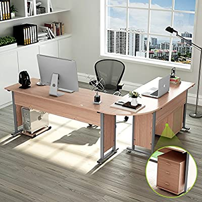 """87"""" Tribesigns Modern L-Shaped Desk with Return and Mobile File Cabinet, Corner Computer Desk Study Table Reversible Super Sturdy Workstation for Home Office Wood & Metal with Drawers, Salt Oak - 【TOP DESK SPACE】- 87""""L (long side) x 67""""(short side) x 30""""H, the depth is of 24""""(both long and short sides), great size with open design l-shapes desk, provides a corner wedge that saves a lot of space while create the ideal workspace. 【Multifunctional Desk】-This desk can be splitting into two pieces, be a reversible desk, as pic 4th shows, 91""""L (long side) x 63""""(short side), or a large double computer desk, as pic 5th shows, overall length of 130"""" to fit your other needs. 【TIDY and NO TANGLED】- Desk portion provides 3 smooth metal rails drawers for your office arrangement, built-in grommet hole keeps your cords organized. And a bonus CPU holder is also contained. - writing-desks, living-room-furniture, living-room - 61s7saHhAIL. SS400  -"""