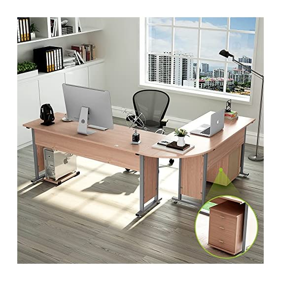 "87"" Tribesigns Modern L-Shaped Desk with Return and Mobile File Cabinet, Corner Computer Desk Study Table Reversible Super Sturdy Workstation for Home Office Wood & Metal with Drawers, Salt Oak - 【TOP DESK SPACE】- 87""L (long side) x 67""(short side) x 30""H, the depth is of 24""(both long and short sides), great size with open design l-shapes desk, provides a corner wedge that saves a lot of space while create the ideal workspace. 【TIDY and NO TANGLED】- Desk portion provides 3 smooth metal rails drawers for your perfect office arrangement, desktop decluttered with conveniently built-in grommet hole that keeps your cords out of the way and organized. And a bonus CPU holder is also contained. 【SUPERIOR QUALITY】- SGS certified E1 class compressed board and perfect edge technology with no collapse around provides perfect quality assurance. Solid metal tubing features a powder-coated finish that prevents it from corroding. - writing-desks, living-room-furniture, living-room - 61s7saHhAIL. SS570  -"