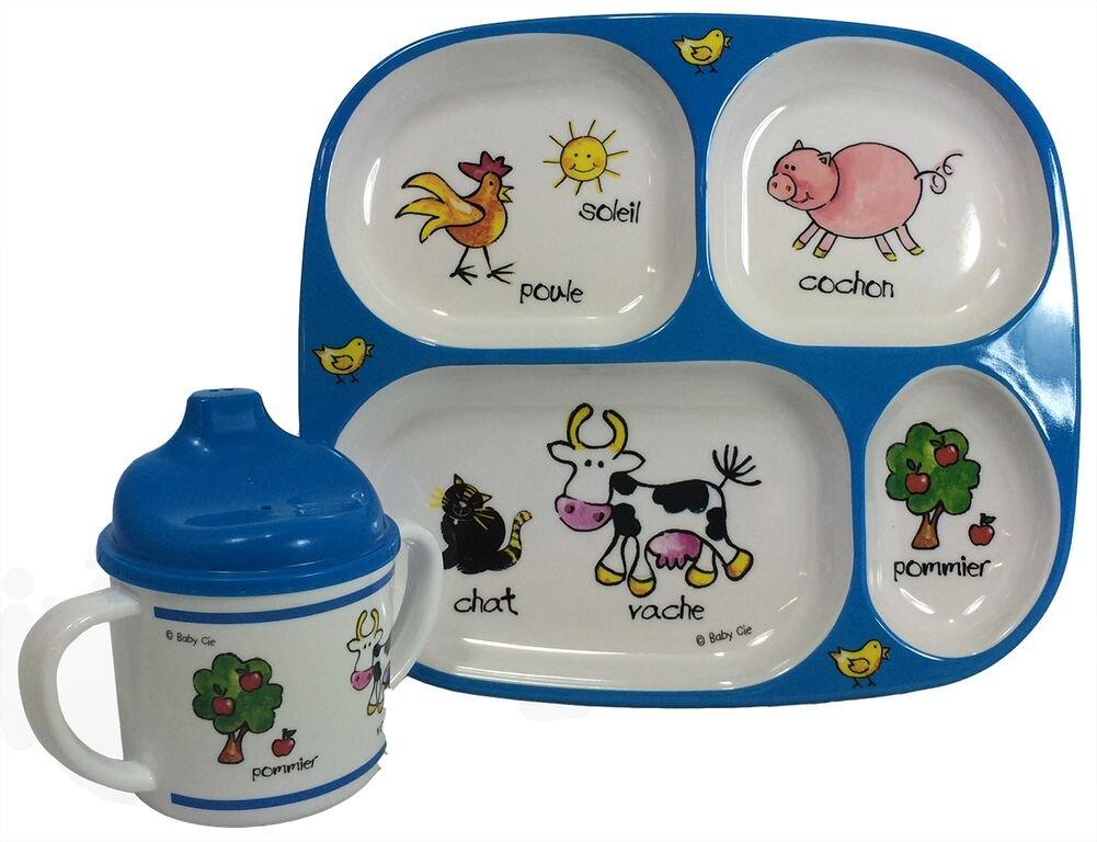 Baby Cie Farm Animals, Melamine Plate & Sippy Cup - 2 Piece Set by Baby Cie   B00ZYKAXXU